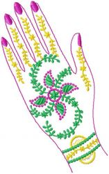 Indian Henna Painted Hands embroidery designs
