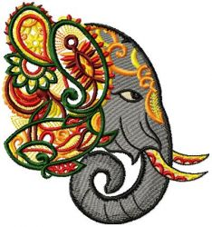 Ornamental Elephant 001 Embroidery Design