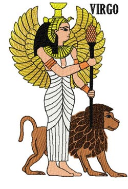 Nephthys and Thoth and Virgo embroidery design