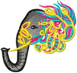 Ornamental Elephant 007 Embroidery Design