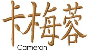 Cameron embroidery design