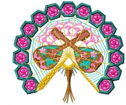 oriental fans applique 007