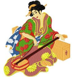 Japanese beauty embroidery design
