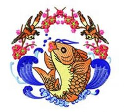 Chinese Fish 001  embroidery design