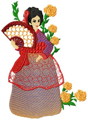 Korean Women003 embroidery design