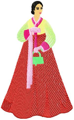 Korean Women009 embroidery design