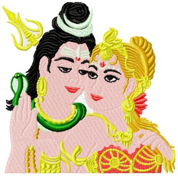 lord Shiva and his consort Parvati embroidery design