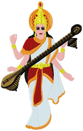 Saraswati embroidery design
